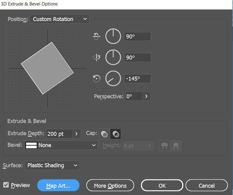 illustrator 3d extrude dialog box