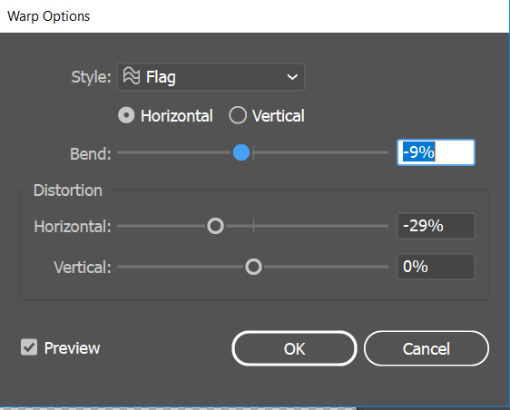 illustrator envelop distort warp options