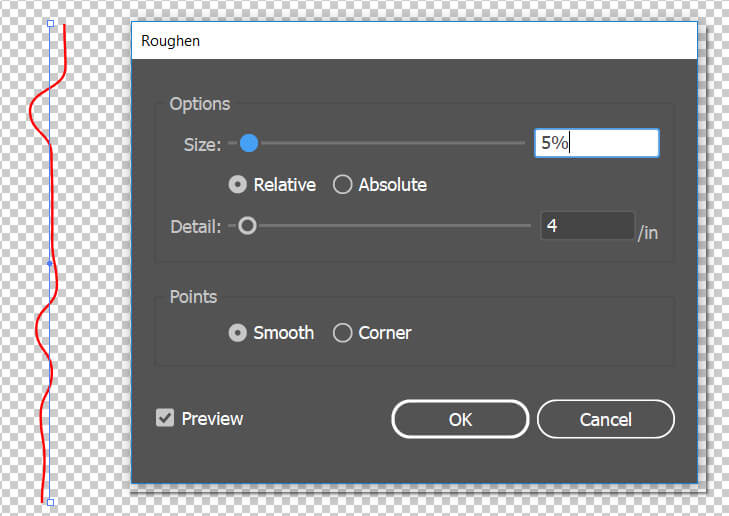 illustrator roughen effect option