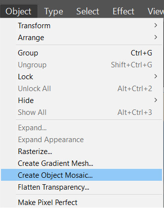 create mosaic menu