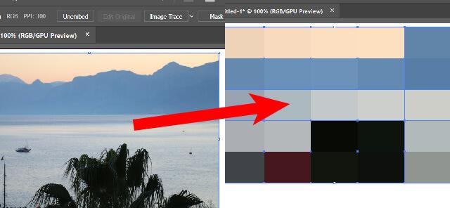 İllüstrator ile resimden renk örnekleri oluşturma